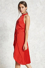 Load image into Gallery viewer, Contemporary Red Satin Wrap Dress