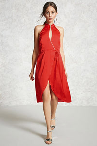 Contemporary Red Satin Wrap Dress