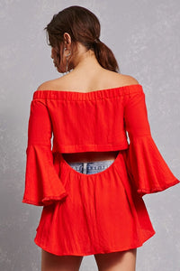 Red Off The Shoulder Cut Out Back Top