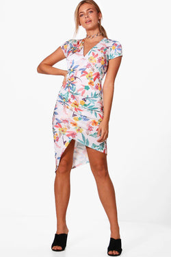 Tropical Midi Wrap Dress
