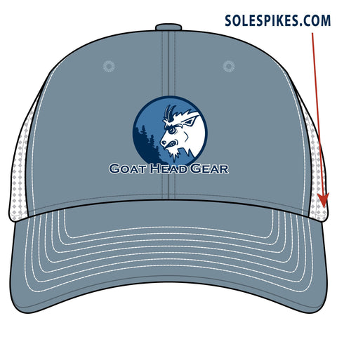 Goat Head Logo Trucker Hat (Steel/White) - Goat Head Gear