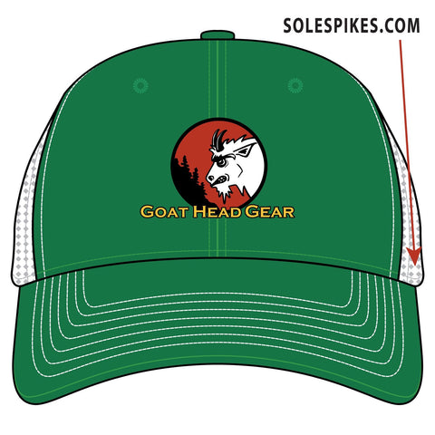Goat Head Logo Trucker Hat (Green/White)