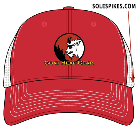 Goat Head Logo Trucker Hat (Red/White)
