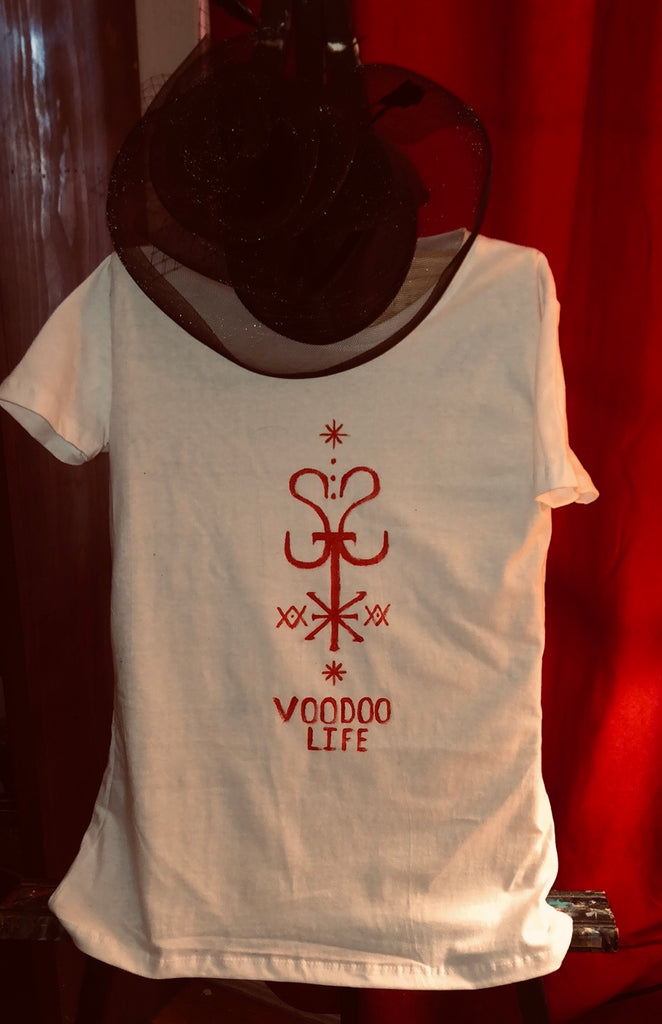 St Expedite VOODOO LIFE T-shirt White Women's Small