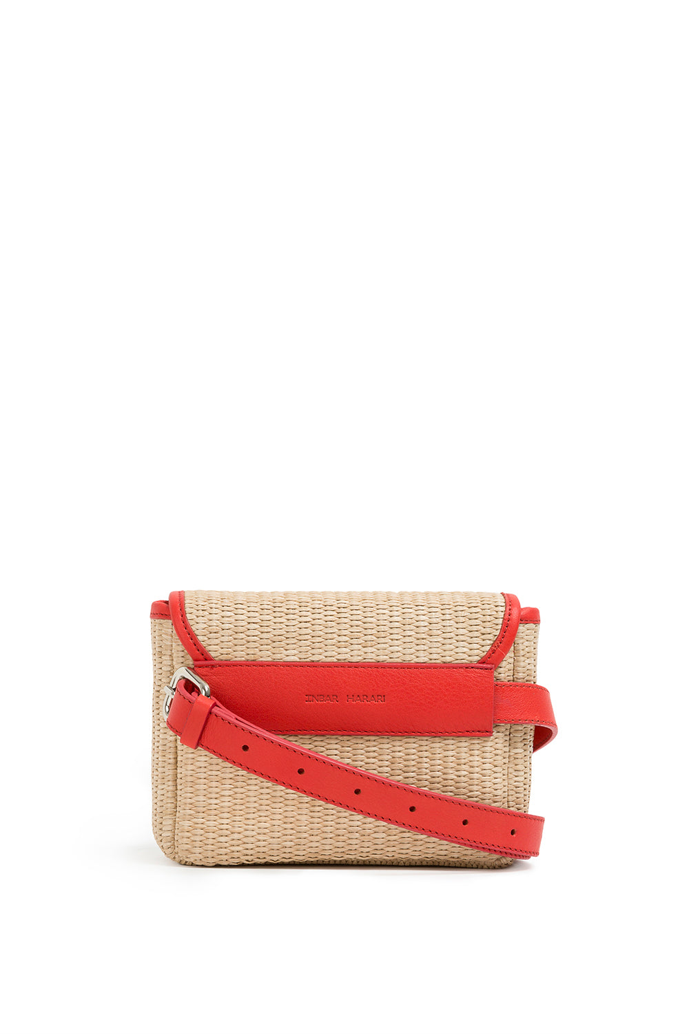 inbar harari Barcelona leather bag raffia red