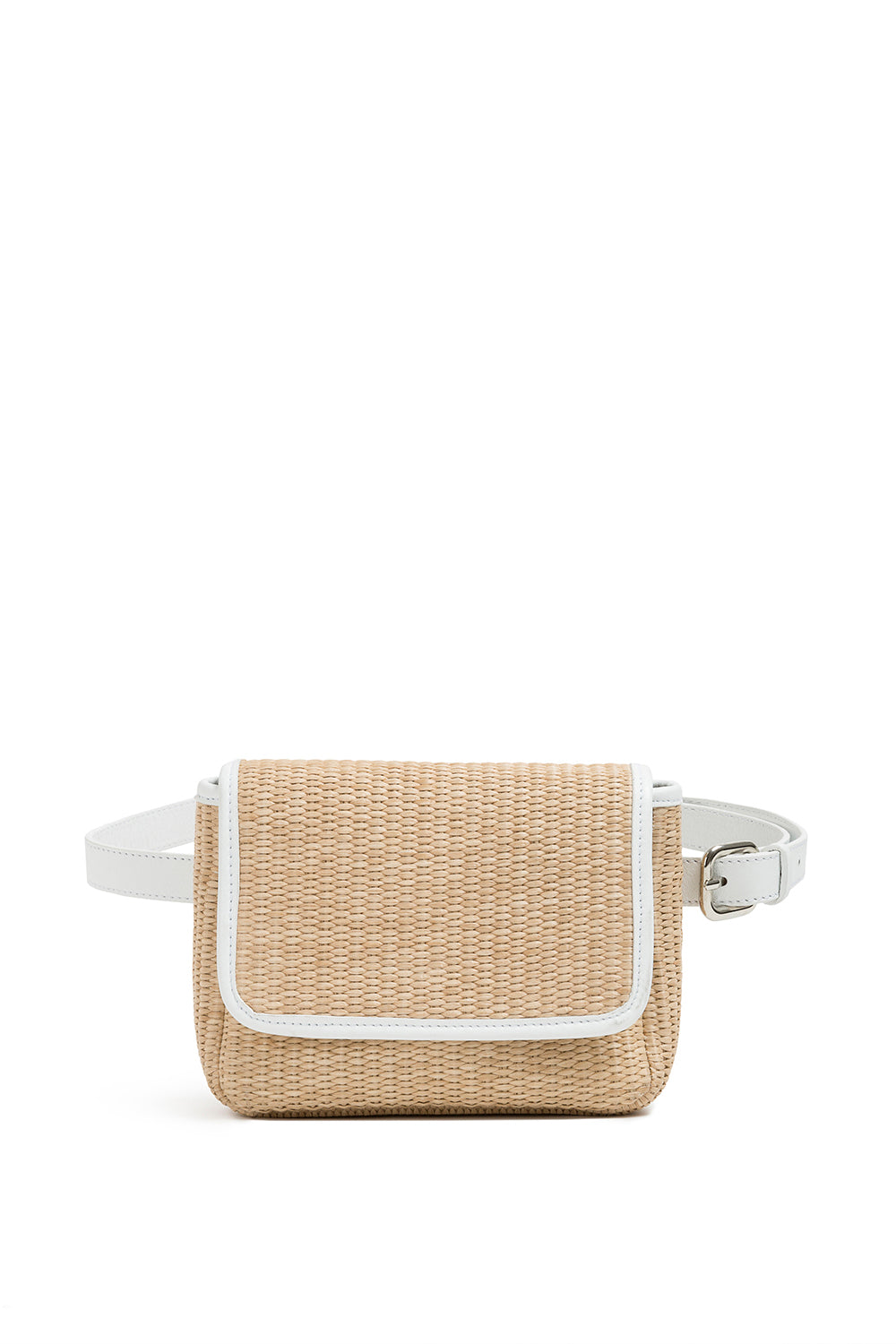 White Raffia Belt Bag