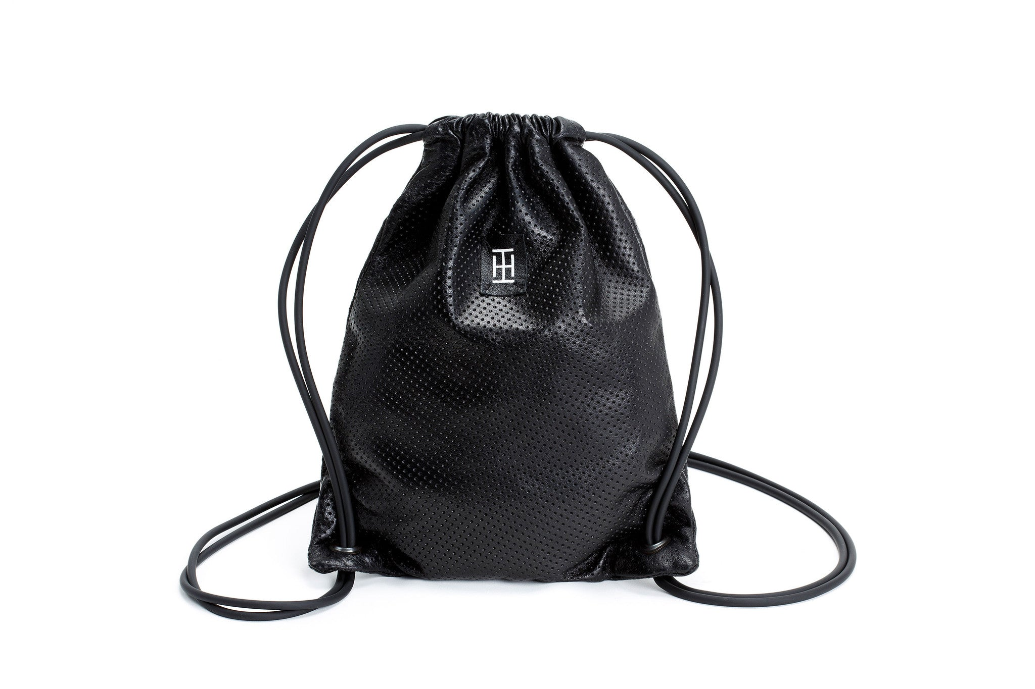 The Mini Sackpack- Black Leather Bag