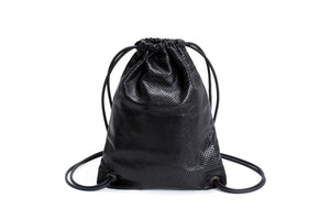 The Mini Sackpack-Black Leather Bag