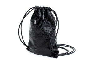 Black perforated-leather mini sackpack, black leather bag