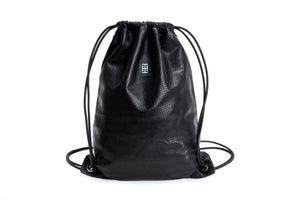 Black perforated-leather Sackpack- Leather Bag