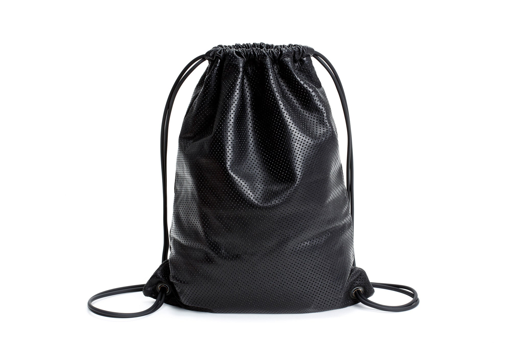 Black perforated-leather Sackpack, black leather bag