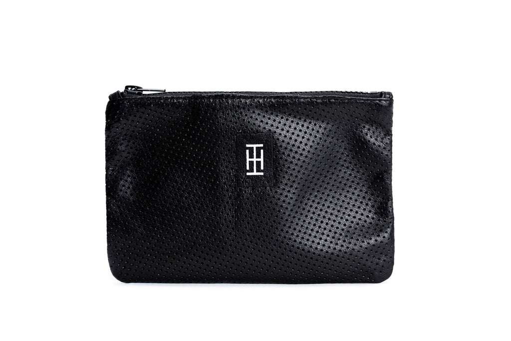 Black perforated-leather pouch - Leather Purse