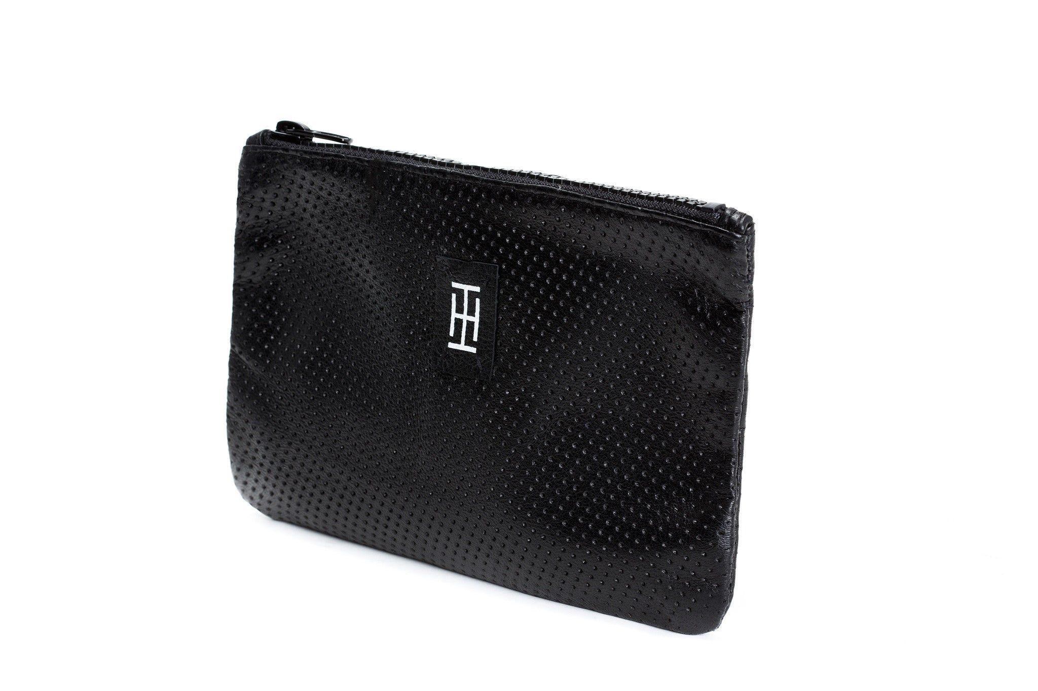 Black perforated-leather pouch, leather purse