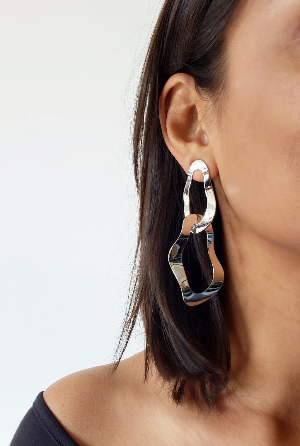 EVA SILVER GEOMETRIC EARRINGS