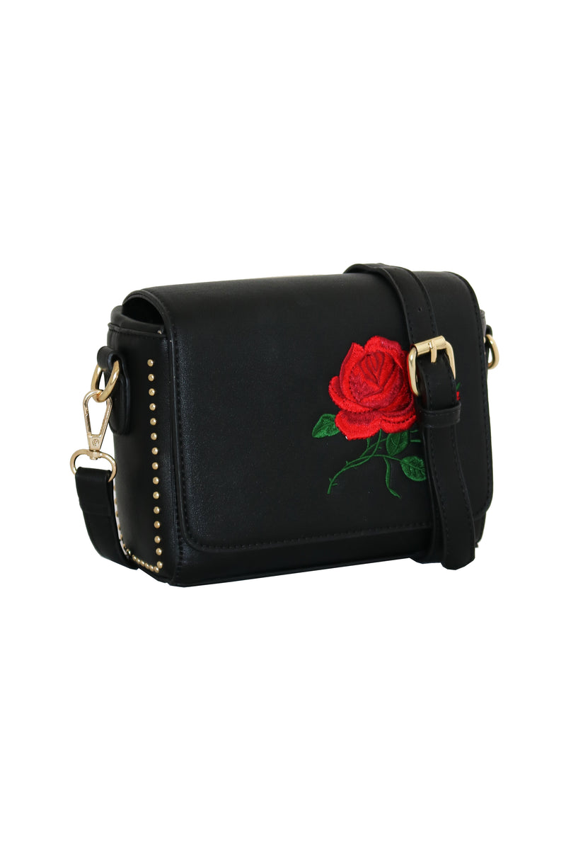 ROSE BLACK EMBROIDERED BAG