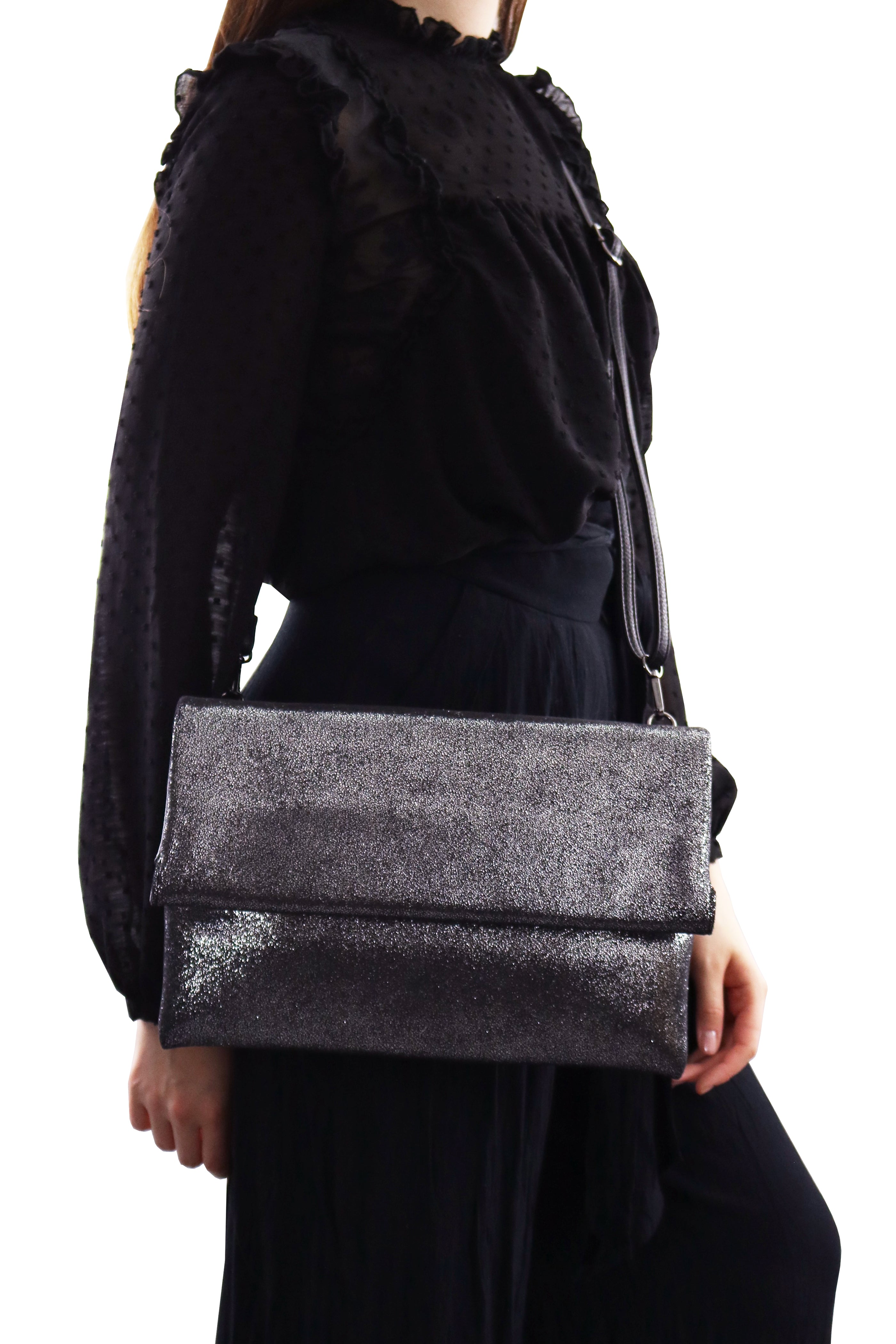 EVA SILVER CLUTCH BAG