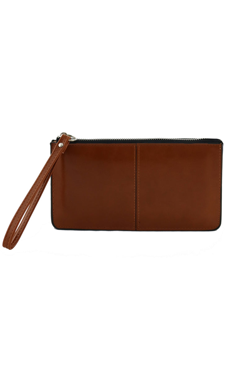 EVIE TAN WRISTLET CLUTCH