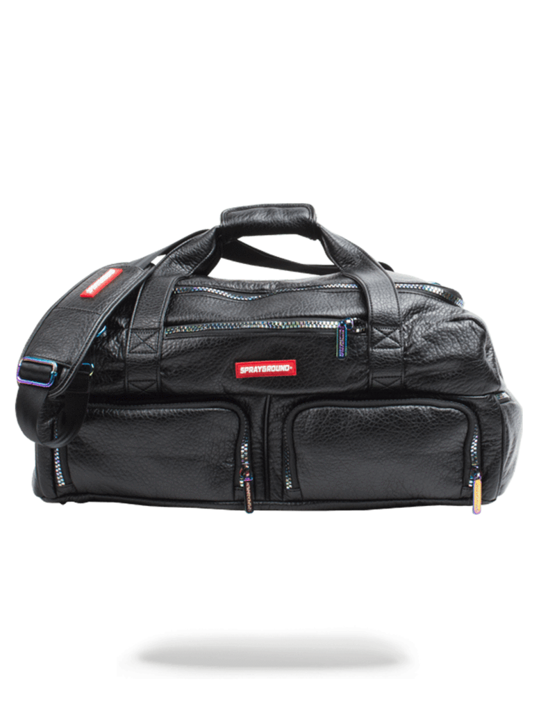 Black Leather Sneaker Iridescent Duffel