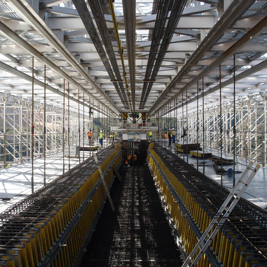 interior view of theworking area of a movable scaffolding system