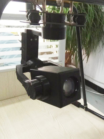 The pan-tilt-zoom camera mount prototype with camera installed.