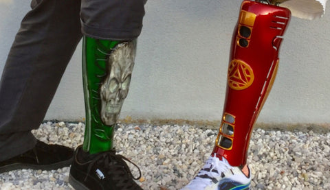 custom leg prosthetic with a green skull and a red leg prosthetic