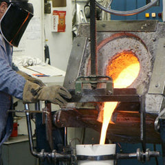 Molten bronze is then poured into each shell.