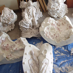 sculptures covered with plaster