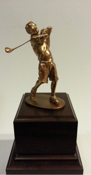 Imitation metal bronze colored golf trophy created by 3D printing
