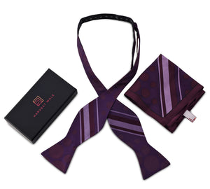 Harvest Male 100% Silk Purple Polka Dot & Stripes Self Tie Bow Tie & Pocket Square Gift Set For Men