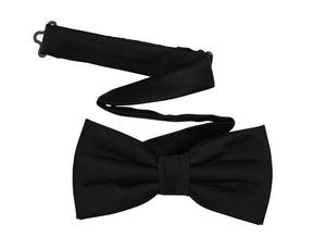 Harvest Male Black Bow Tie - Men's Pre-tied Adjustable Length Formal Tuxedo Satin Solid Color