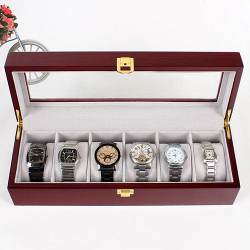 6 grade high-grade wooden watch box display storage box  Velvet watch case watch Case Top storage glass clock organizer box