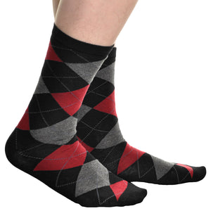 Swan Men's Cotton Dress Socks with Argyle Pattern (6 Pairs)