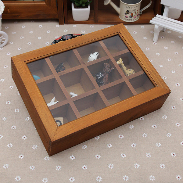 Wooden Jewelry Box with Glass Cover - 12 Sections