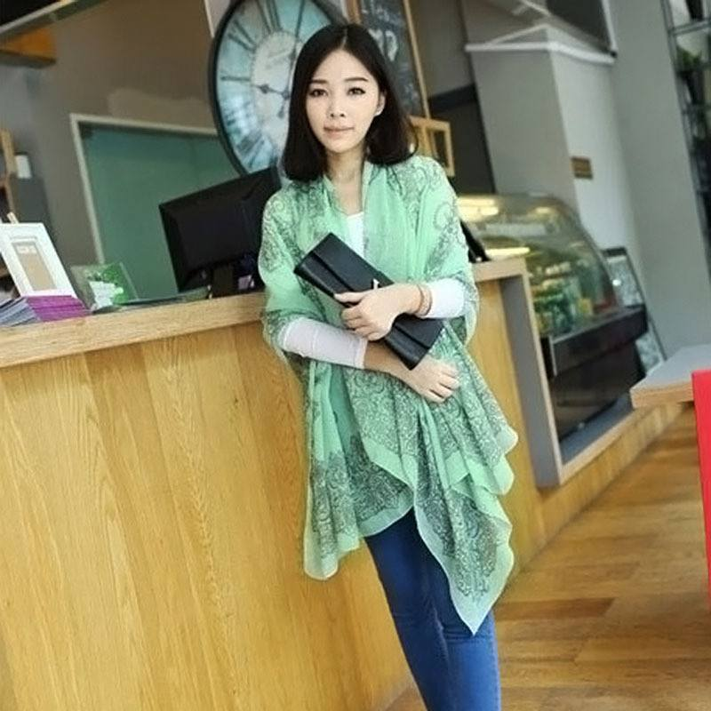 Scarves - Print Porcelain Style Thin Women's Shawl Scarf