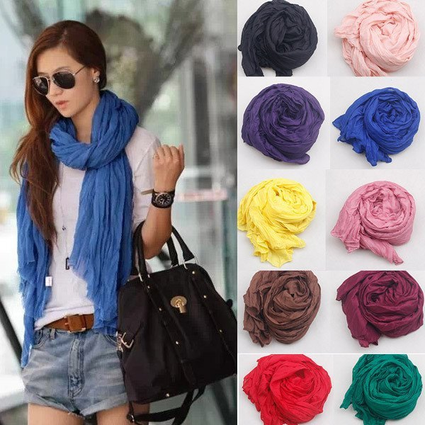 Solid Candy Color Women's Cotton Scarf