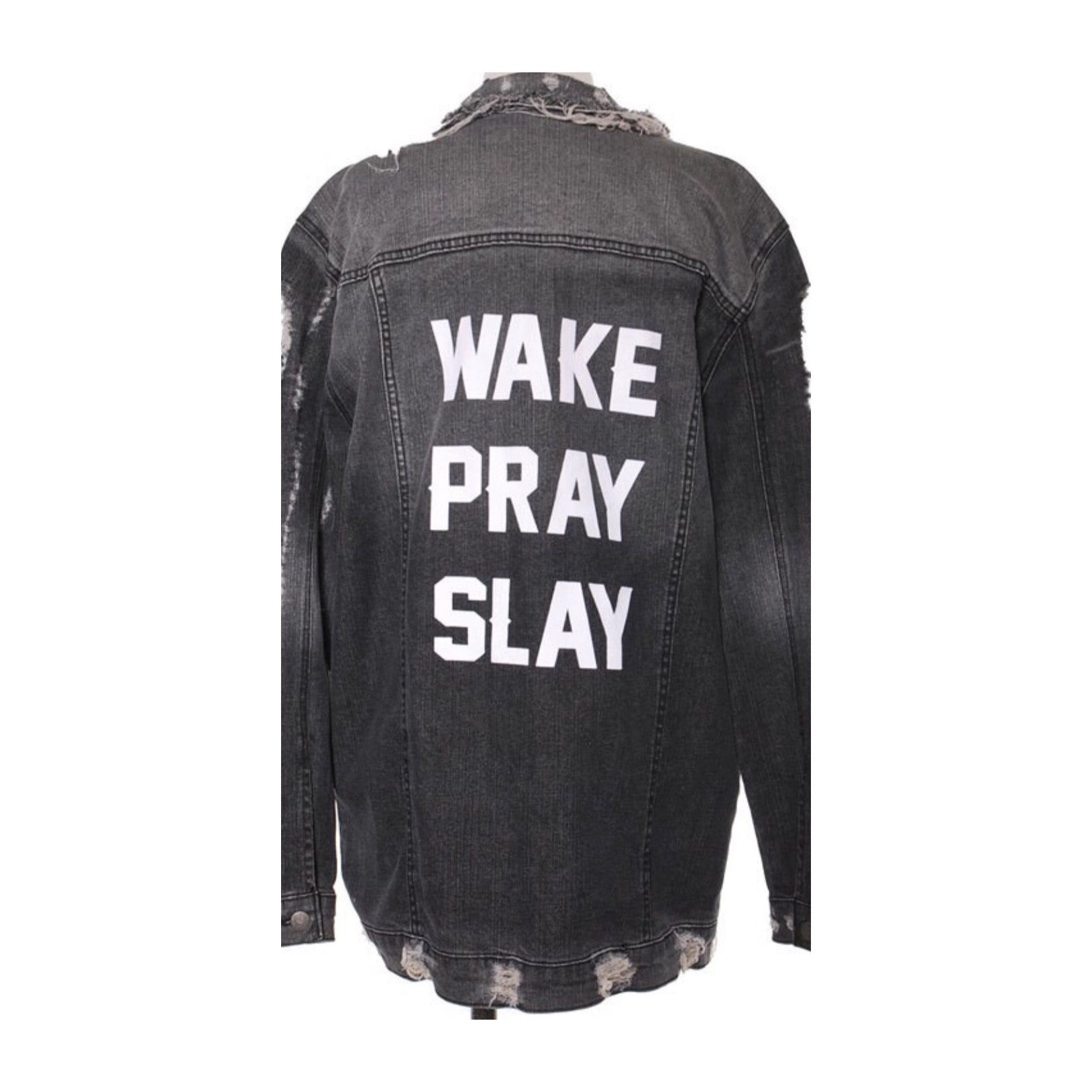 Work Pray Slay Black Denim Jacket