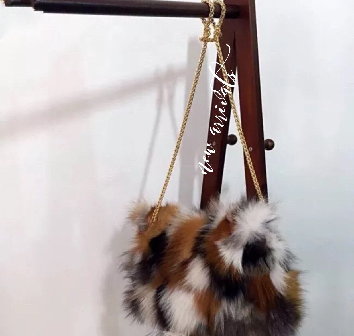 Gold Fur Chain Purse