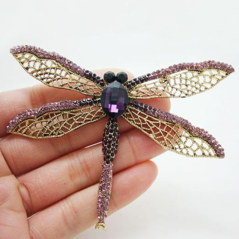 2.51 Exquisite Purple Dragonfly Brooch Pin Rhinestone Crystal Party Jewelry - Default title - Brooch