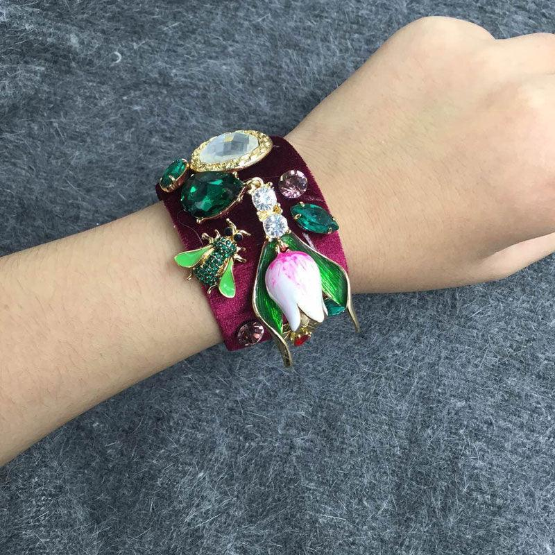 Wine Red Velvet Retro Bee Bangles Crystal Gem Flower Bracelets