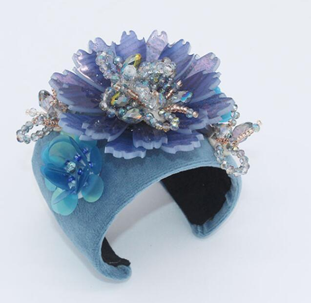 Elegent Blue and Pink Baroque Vintage Cuff Bangles