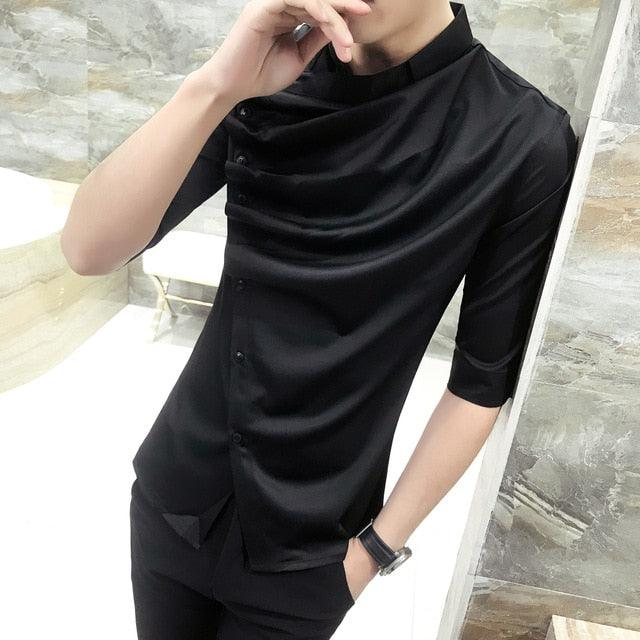 Gothic Unique Ruffle Collar Short Sleeve Men's Shirt