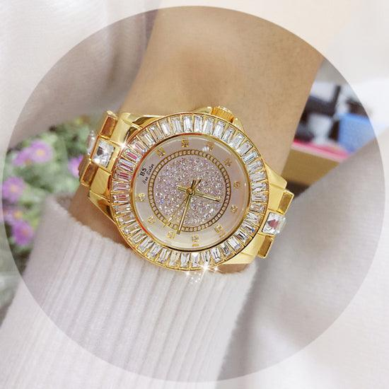 Stainless Steel Diamond Crystal Dial Quartz Watch