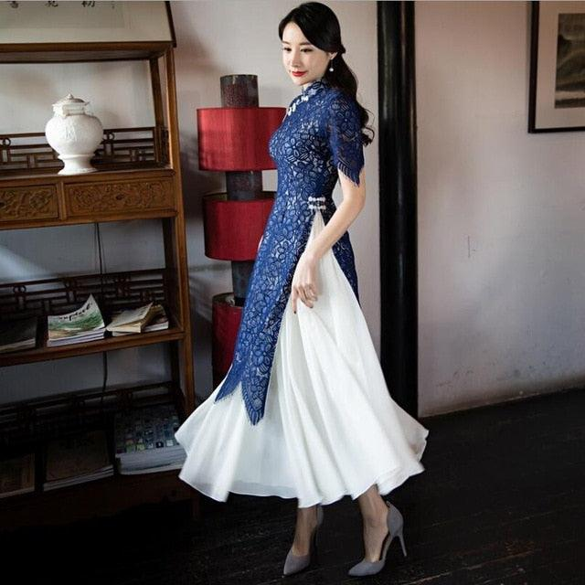 Luxury Lace Ao Dai Vietnam Traditional Cheongsam Suit Two-piece Dress