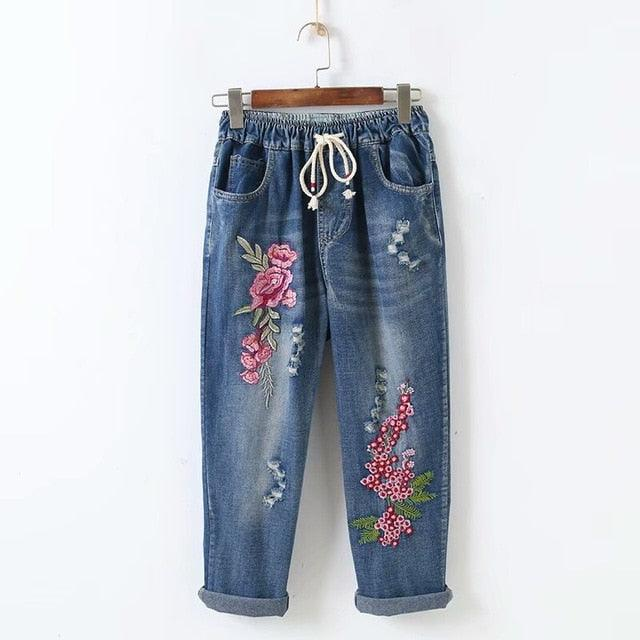 Flowers Loose Nine Points Jeans