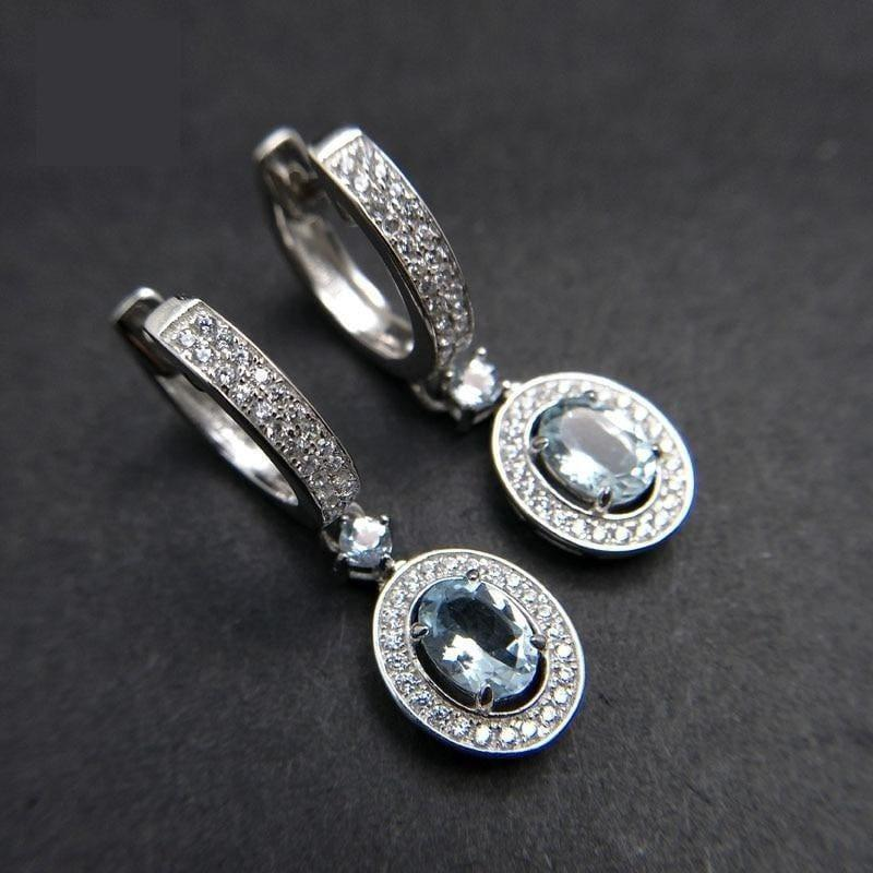 2019 New Classic Natural Brazilian Aquamarine Gemstone in 925 Sterling Silver Clasp Earrings - earrings