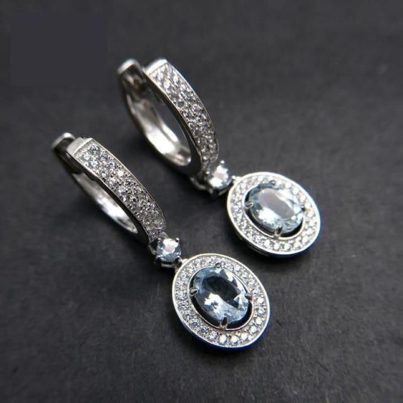 2019 New Classic Natural Brazilian Aquamarine Gemstone in 925 Sterling Silver Clasp Earrings - natural aquamarine - earrings