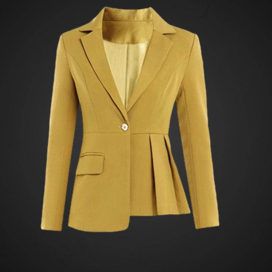 Yellow Open Stitch With Belt  Irregular Jacket + Straight Pants Suit Set