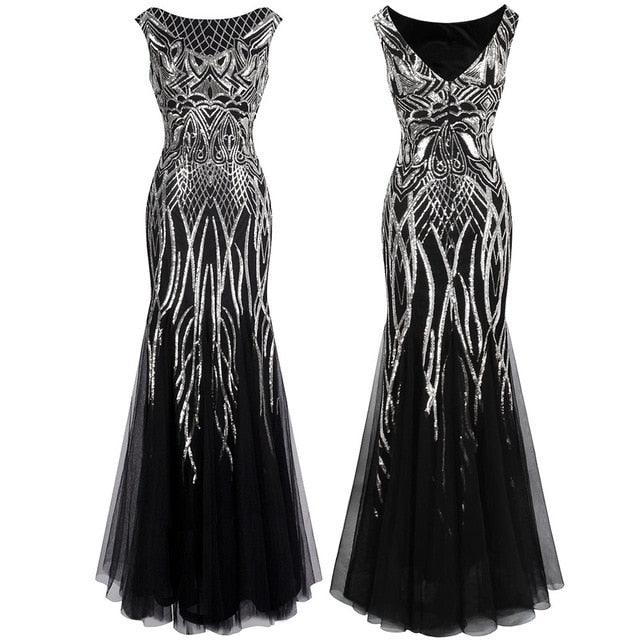Elegance Vintage Sequin 1920S Flapper Evening Dress