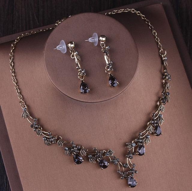 Vintage Gold Black Crystal Heart Bridal Jewelry Sets