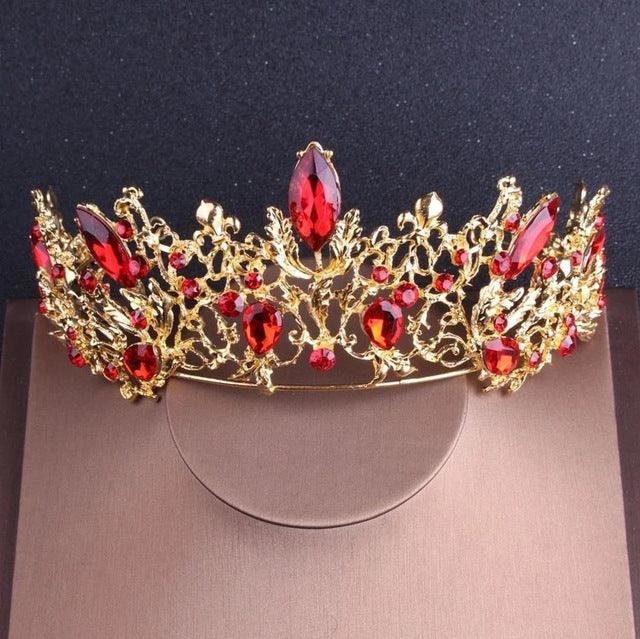 Baroque Vintage Gold Red Crystal Bridal Rhinestone Tiaras